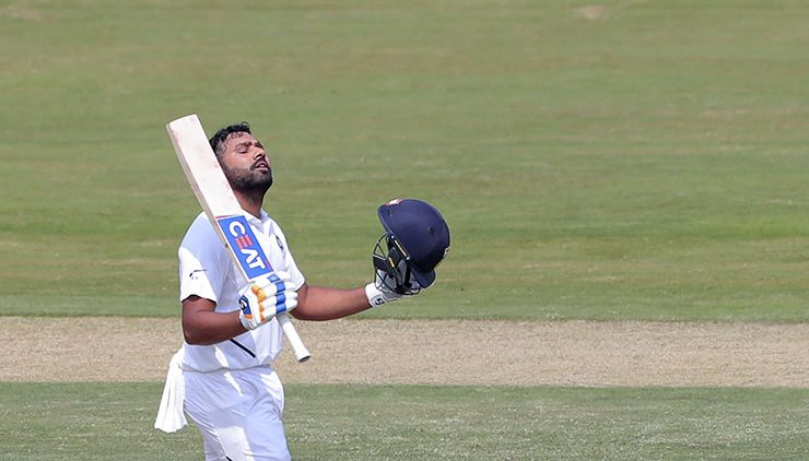 Rohit Sharma scores a century in his maiden Test as an Opener