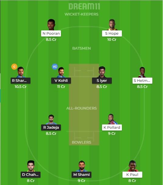 ind vs wi 2nd ODI Dream11 team prediction