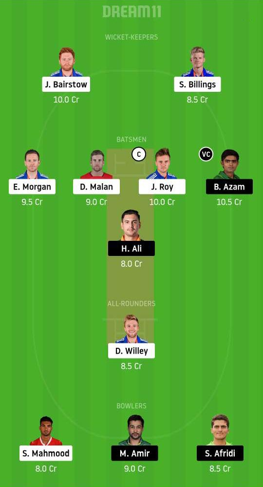 ENG vs PAK Dream11 Team for Today's Match