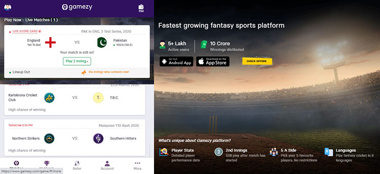 How to Play at Gamezy Fantasy Cricket App