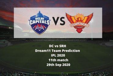 DC vs SRH Dream11 Team Prediction | IPL 2020 | 11th match | 29th Sep 2020