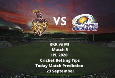 KKR vs MI   Match 5   IPL 2020   Cricket Betting Tips   Today Match Prediction   23 September