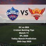 DC vs SRH | Cricket Betting Tips | Match 11 | IPL 2020 | Today Match Prediction | 29th Sep 2020