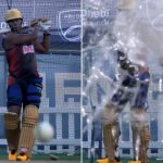 Andre Russell shatters the camera glass with his brilliant stroke during nets