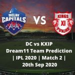 DC vs KXIP Dream11 Team Prediction | IPL 2020 | Match 2 | 20th Sep 2020