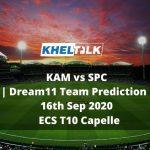 KAM vs SPC Dream11 Team Prediction | 16th Sep 2020 | ECS T10 Capelle