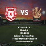 KXIP vs RCB | Match 6 | IPL 2020 | Cricket Betting Tips | Today Match Prediction | 24 September