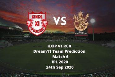 KXIP vs RCB Dream11 Team Prediction | IPL 2020 | Match 6 | 24th Sep 2020