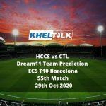 HCCS vs CTL Dream11 Team Prediction   ECS T10 Barcelona   55th Match   29th Oct 2020