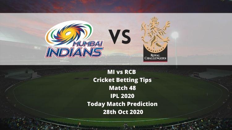 MI vs RCB   Cricket Betting Tips   Match 48   IPL 2020   Today Match Prediction   28th Oct 2020