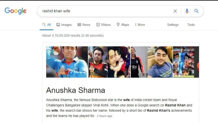 Google gets it wrong about Rashid Khan and Anushka Sharma