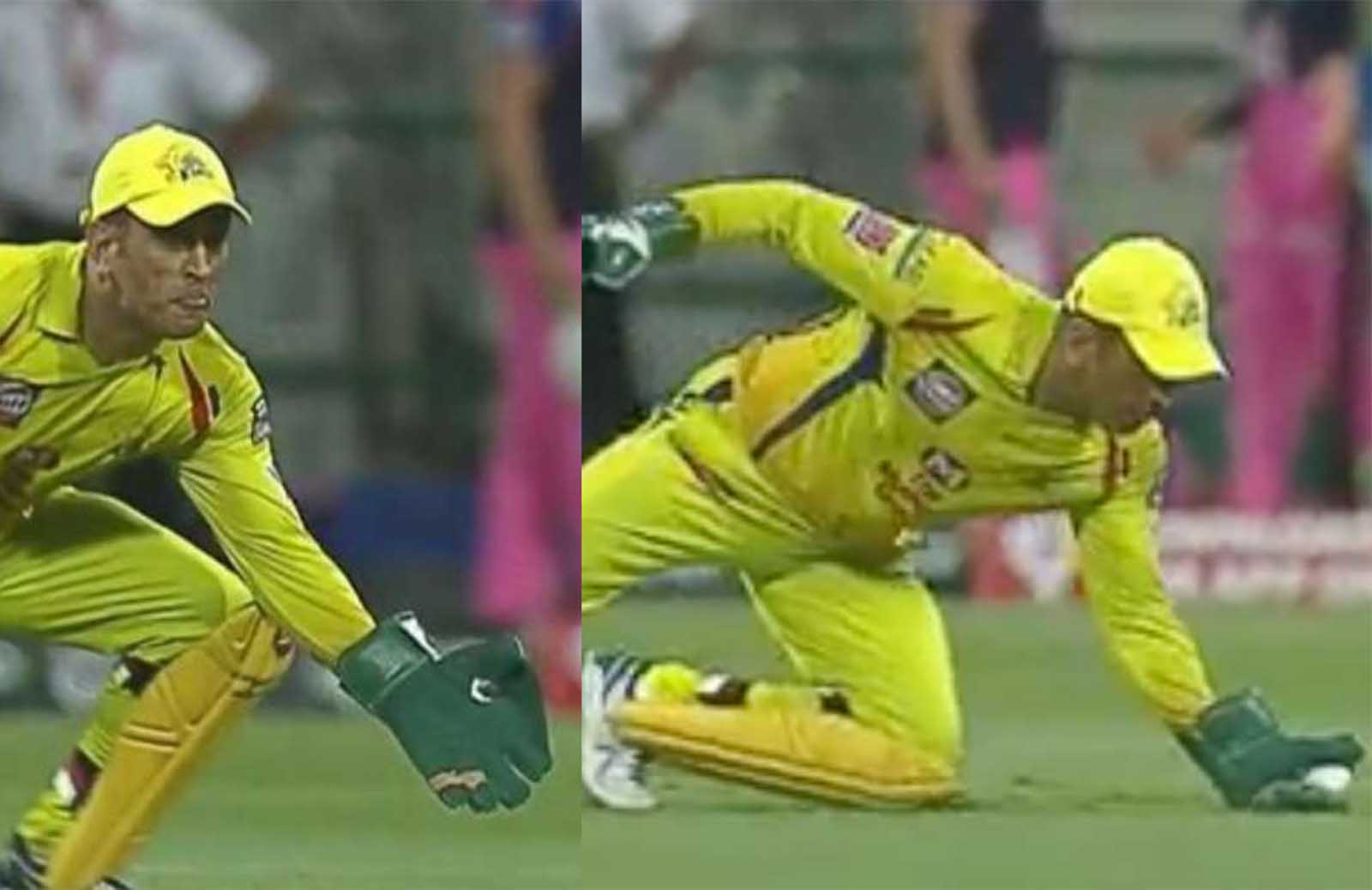 MS Dhoni Takes A One-Handed World Class Catch Against Royals- Watch