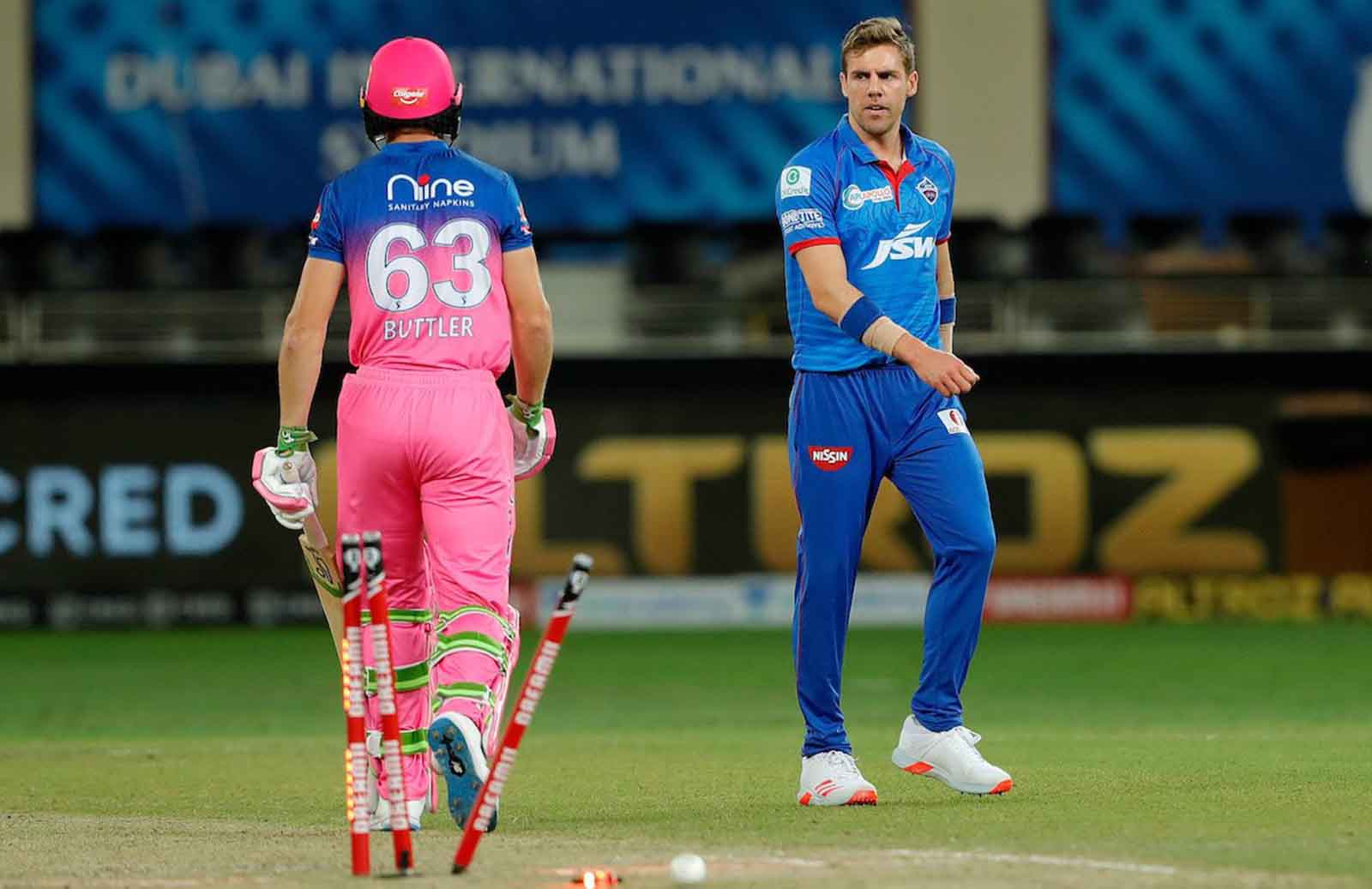 Anrich Nortje Dismissed Jos Buttler With a 155.21 kph Thunderbolt During DC vs RR