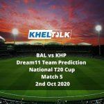 BAL vs KHP Dream11 Team Prediction   National T20 Cup   Match 5   2nd Oct 2020