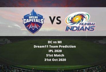 DC vs MI Dream11 Team Prediction   IPL 2020   51st Match   31st Oct 2020