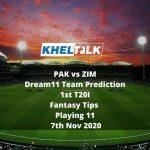 PAK vs ZIM Dream11 Team Prediction | 1st T20I | Fantasy Tips | Playing 11 | 7th Nov 2020