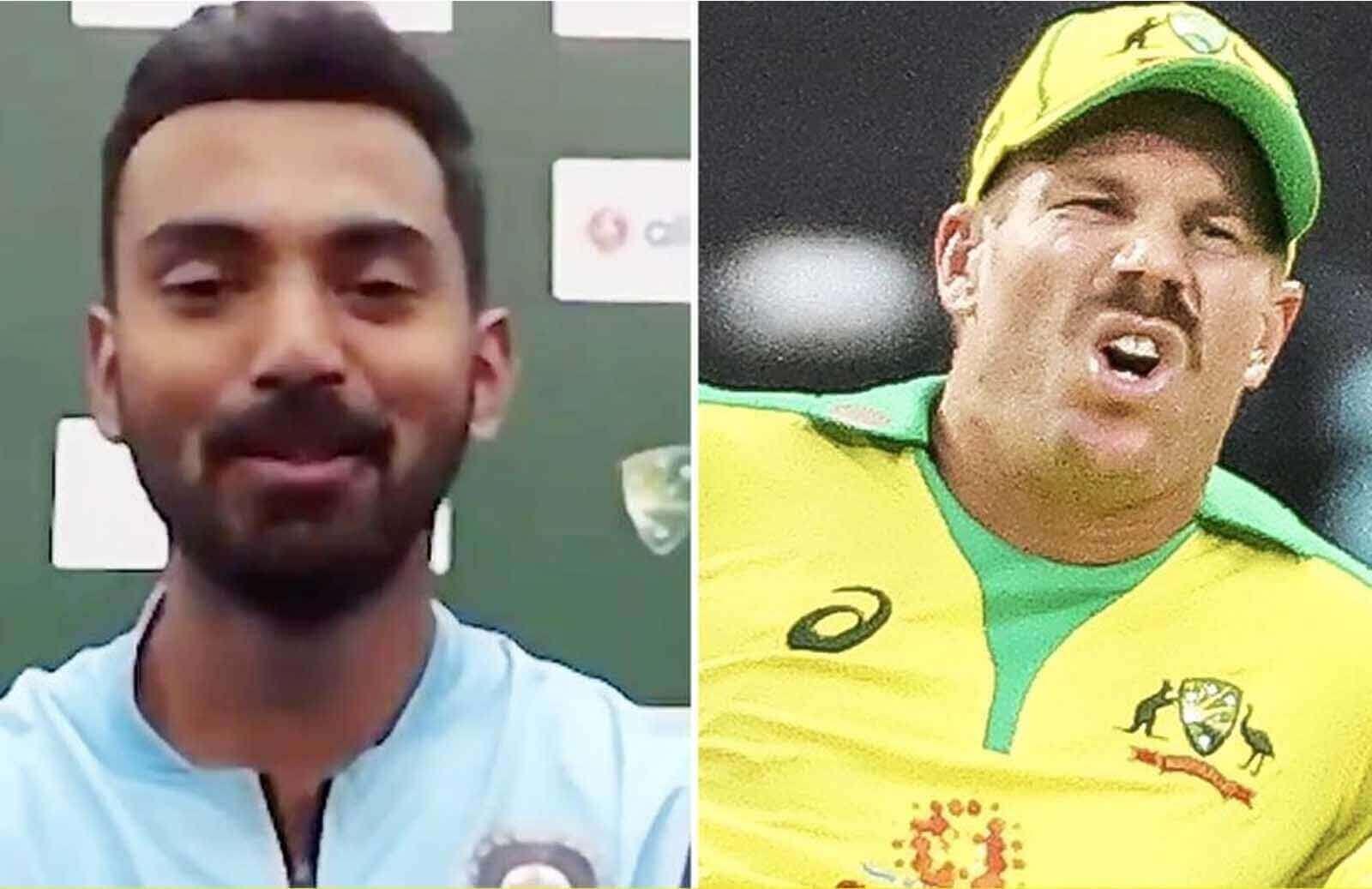 1KL Rahul Takes A Hilarious Jibe On David Warner's Injury