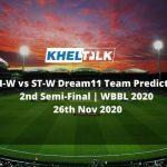 BH-W vs ST-W Dream11 Team Prediction | 2nd Semi-Final | WBBL 2020 | 26th Nov 2020