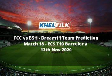 FCC vs BSH Dream11 Team Prediction   Match 18  ECS T10 Barcelona   13th Nov 2020
