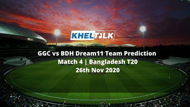 GGC vs BDH Dream11 Team Prediction _ Match 4 _ Bangladesh T20 _ 26th Nov 2020