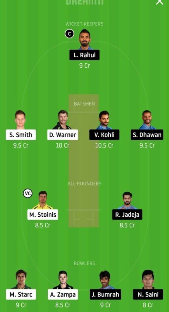 India vs Australia Dream11 Prediction 1st Odi Grand League