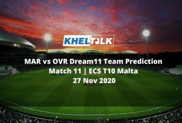 MAR vs OVR Dream11 Team Prediction   Match 11   ECS T10 Malta   27 Nov 2020