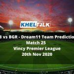 SPB vs BGR Dream11 Team Prediction | Match 25 | Dream11 Vincy Premier League | 20th Nov 2020
