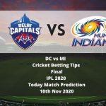 DC vs MI | Cricket Betting Tips | Final | IPL 2020 | Today Match Prediction | 10th Nov 2020