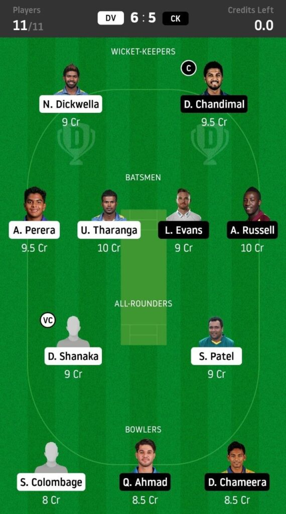 DV vs CK Dream11 Team Prediction | Match 20 | Lanka Premier League | 11th Dec 2020