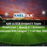 AJM vs ECB Dream11 Team Prediction | Match 8 | Dream11 Emirates D20 League | 11th Dec 2020