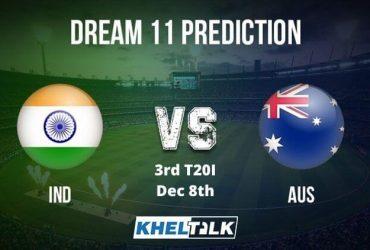 AUS vs IND Dream11 Team Prediction _ 3rd T20I _ India tour of Australia _ 8th Dec 2020