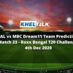 CAL vs MBC Dream11 Team Prediction _ Match 23_ Roxx Bengal T20 Challenge _ 4th Dec 2020