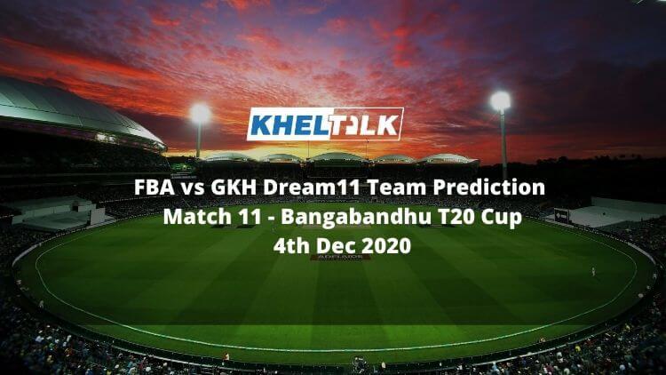 FBA vs GKH Dream11 Team Prediction _ Match 11 _ Bangabandhu T20 Cup _ 11th match _ 4th Dec 2020
