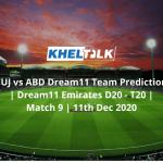 FUJ vs ABD Dream11 Team Prediction | Dream11 Emirates D20 - T20 | Match 9 | 11th Dec 2020