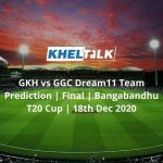 GKH vs GGC Dream11 Team Prediction | Final | Bangabandhu T20 Cup | 18th Dec 2020
