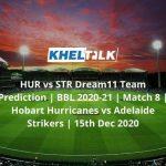 HUR vs STR Dream11 Team Prediction _ BBL 2020-21 _ Match 8 _ Hobart Hurricanes vs Adelaide Strikers _ 15th Dec 2020