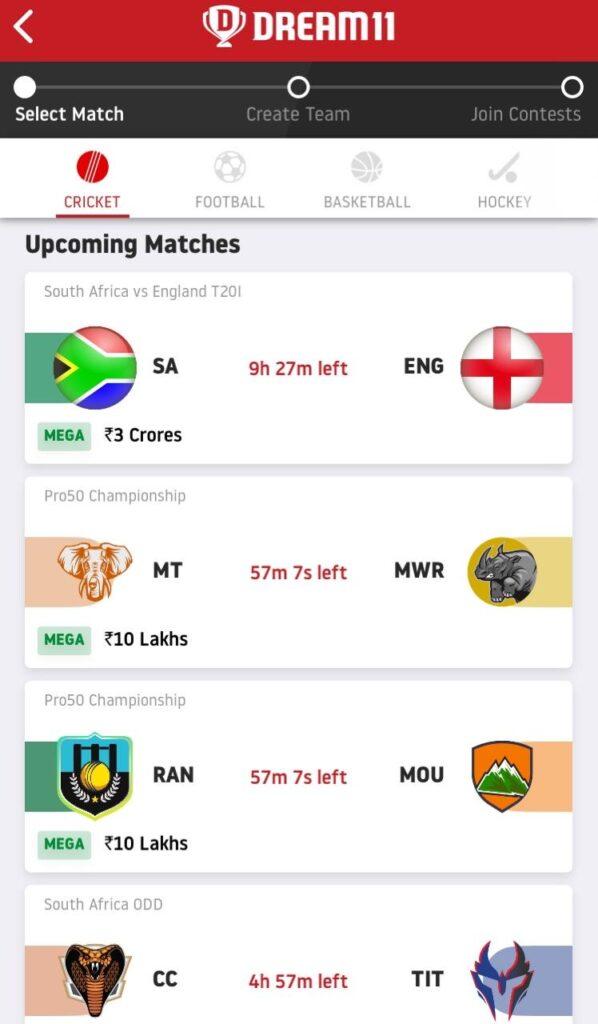 Select Match Dream11 Predictions
