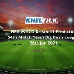 HEA vs SCO Dream11 Prediction 54th Match Team Big Bash League 26th Jan 2021