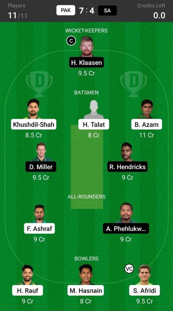 Grand League Team For Pakistan vs South Africa
