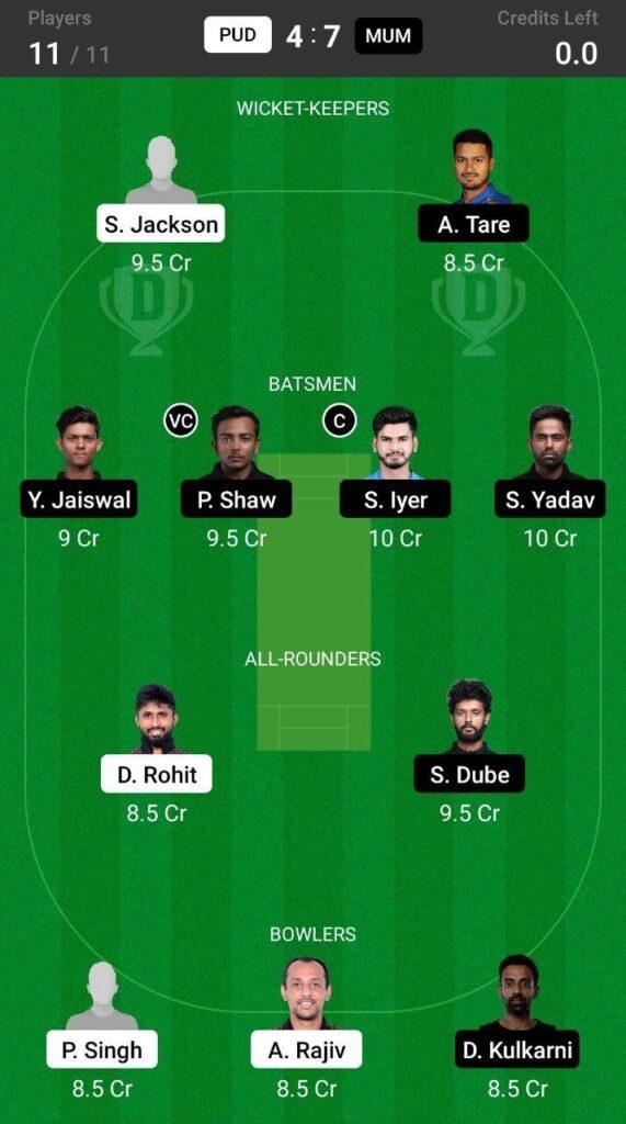 Head To Head Team For Puducherry vs Mumbai