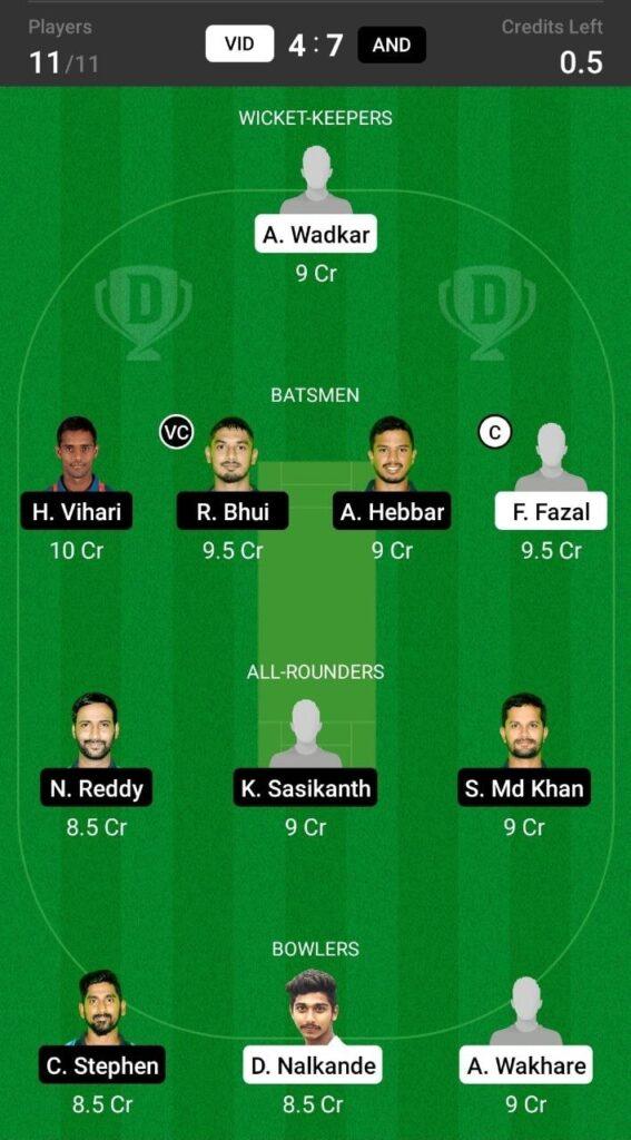 Grand League Team For Vidarbha vs Andhra