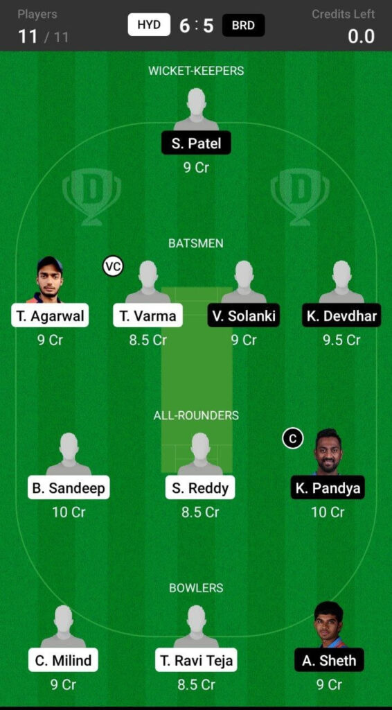 Head To Head Team For Hyderabad vs Baroda
