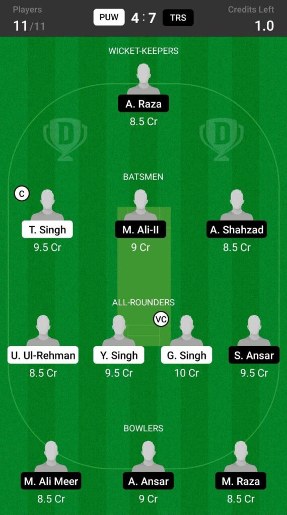 Head To Head Dream11 Team Prediction For Trinitat Royal Stars vs Punjab Warriors
