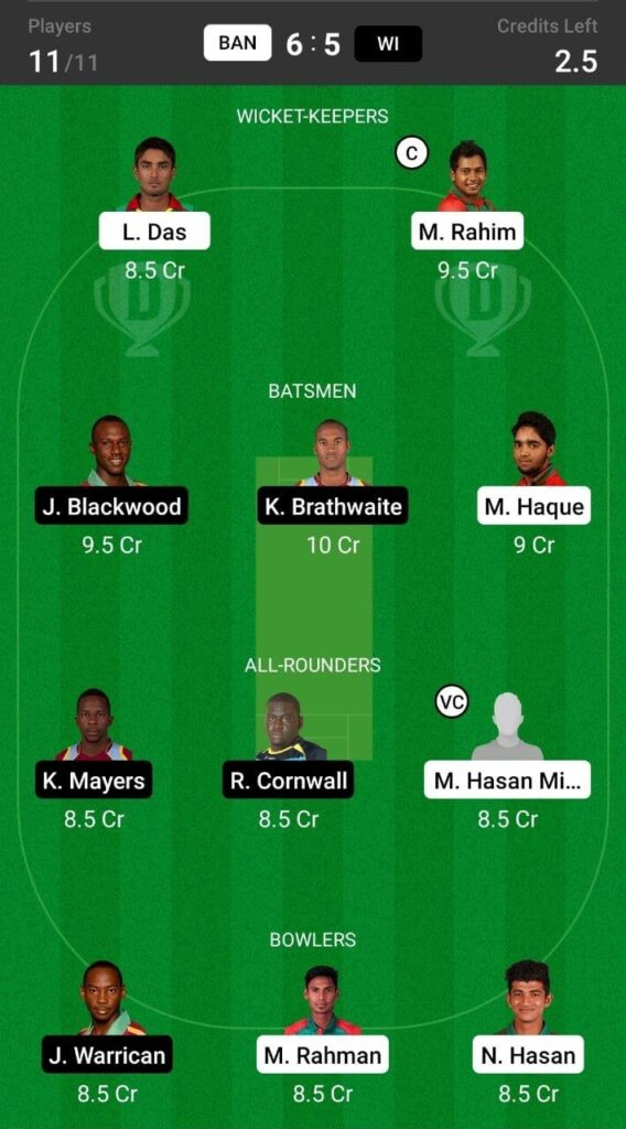 Grand League Teams For Bangladesh vs West Indies