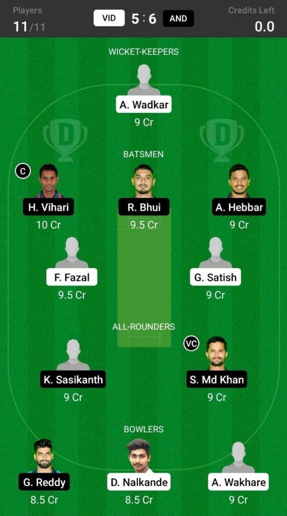 Head To Head Team For Vidarbha vs Andhra