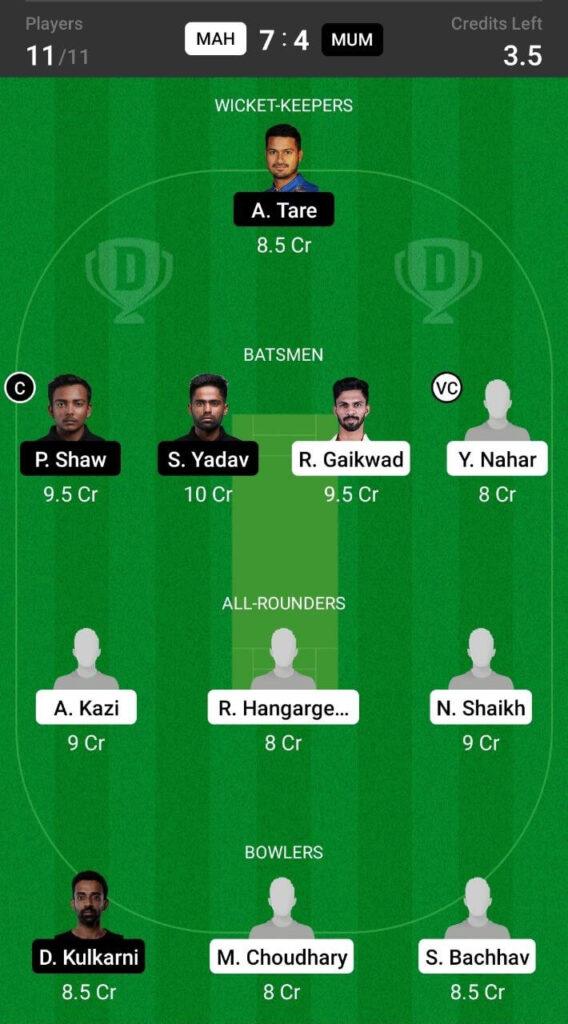 Grand League Team For Maharashtra vs Madhya Pradesh