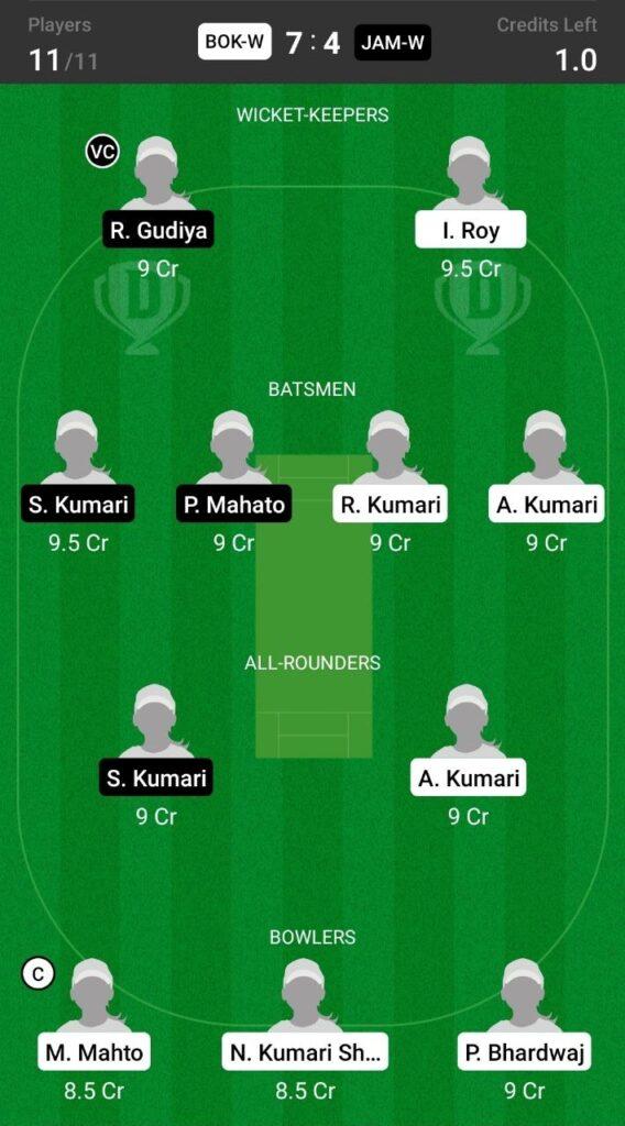 Grand League Team For Bokaro Blossoms vs Jamshedpur Jasmines