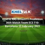 KHA vs RAS Dream11 Prediction 36th Match Team ECS T10-Barcelona 17 February 2021