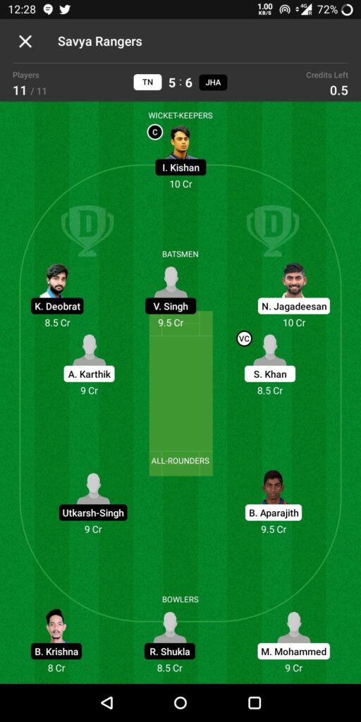 Grand League Team For Tamil Nadu vs Jharkhand