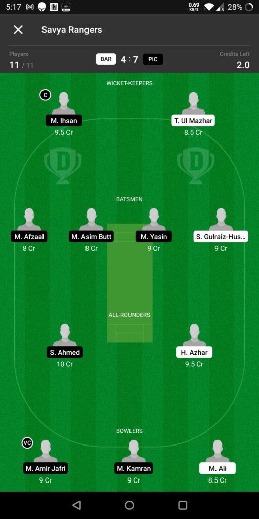 Grand League Team For Prediction BAR vs PIC